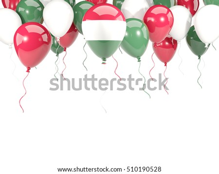 Flag of hungary, with balloons frame isolated on white. 3D illustration
