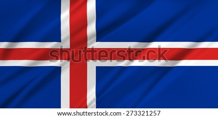 Flag of Iceland waving in the wind