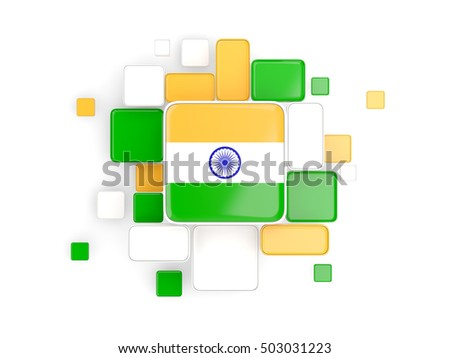 Flag of india, mosaic background with square parts. 3D illustration