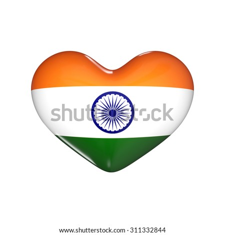 flag of India on the heart. 3d render illustration - stock photo
