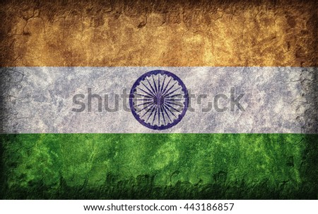 Flag of India painted onto a rough wall