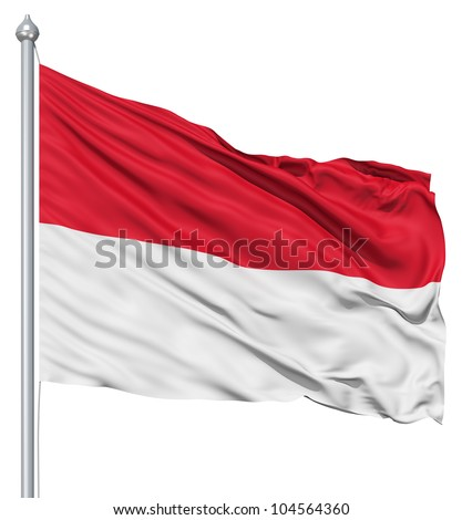 Flag of Indonesia with flagpole waving in the wind against white background - stock photo