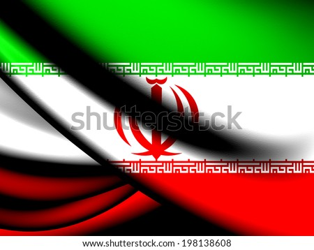 Flag of Iran. Close Up.