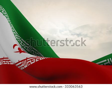 Flag of Iran, close up  with  sinuous motion wave on abstract background with waves and clouds