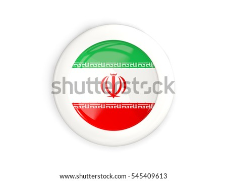 Flag of iran, glossy round button with white frame isolated on white. 3D illustration