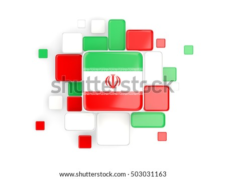 Flag of iran, mosaic background with square parts. 3D illustration
