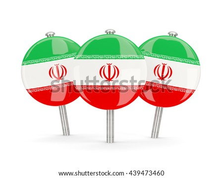 Flag of iran, round pins on white. 3D illustration - stock photo