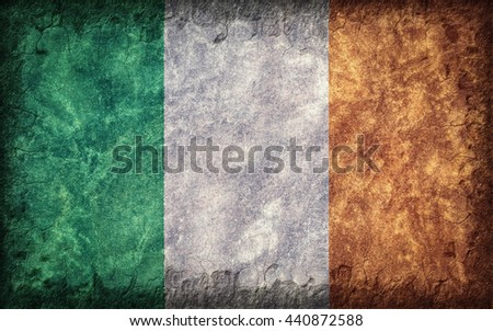Flag of Ireland painted onto a rough wall - stock photo