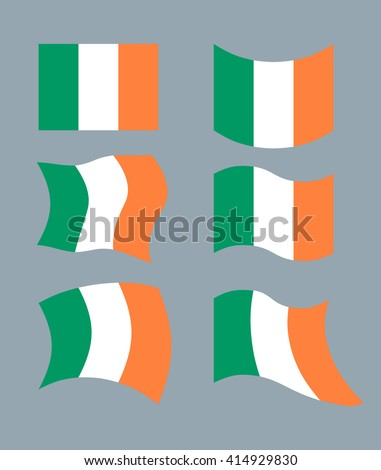 Flag of Ireland. Set flag of Irish State. Developing green, Orange flag. Political sign of country  - stock photo