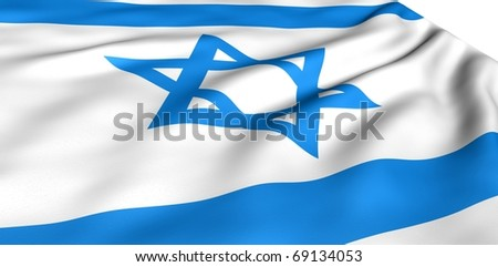 Flag of Israel against white background. Close up.