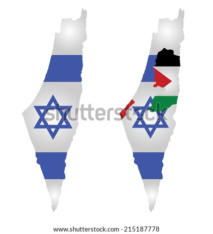 Flag of Israel overlaid on map with second map showing the disputed Palestinian territories of the West Bank and the Gaza Strip with the Palestinian flag isolated on white background - stock photo