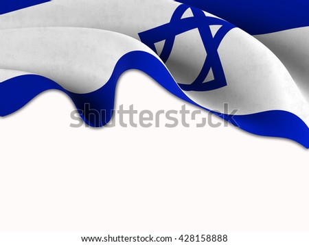 Flag of Israel waving on a white background