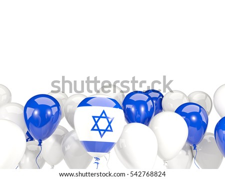 Flag of israel, with balloons isolated on white. 3D illustration