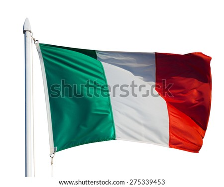 Flag of Italy in flight. Isolated over white background