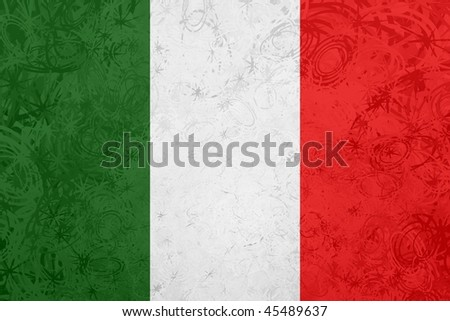 Flag of Italy, national country symbol illustration rough grunge texture - stock photo