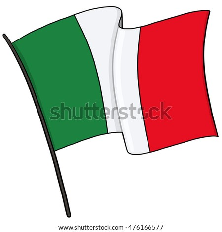 Flag of Italy on a flagpole illustration