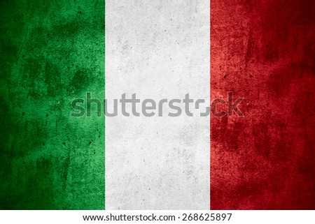 flag of Italy or Italian banner on rough pattern texture background