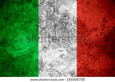 flag of Italy or Italian banner on vintage metal texture