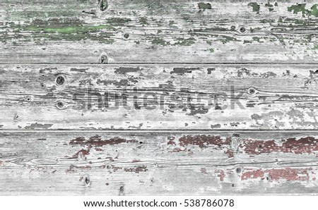 Flag of Italy painted on old grungy wooden background. Faded texture.