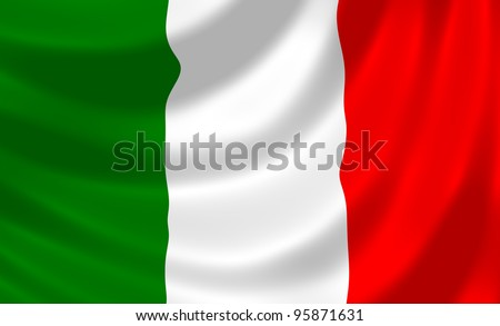 Flag of Italy waving in the wind detail - stock photo
