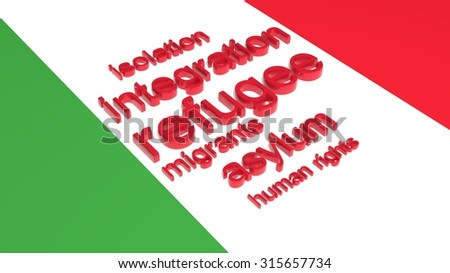 Flag of Italy with text associated with immigration. - stock photo