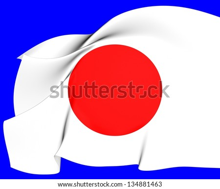 Flag of Japan. Close Up.