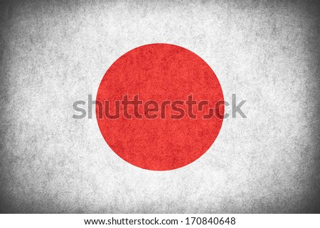 flag of Japan or Japanese banner on paper rough pattern texture