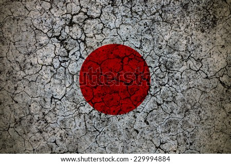 Flag of Japan painted on a grunge wall. - stock photo