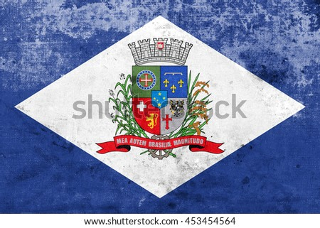 Flag of Joinville, Santa Catarina State, Brazil, with a vintage and old look - stock photo