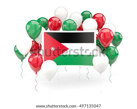 Flag of jordan, with balloons isolated on white. 3D illustration