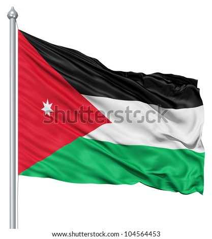 Flag of Jordan with flagpole waving in the wind against white background