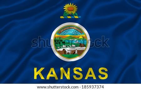 Flag of Kansas state (USA) - stock photo