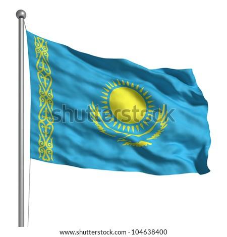 Flag of Kazakhstan - stock photo