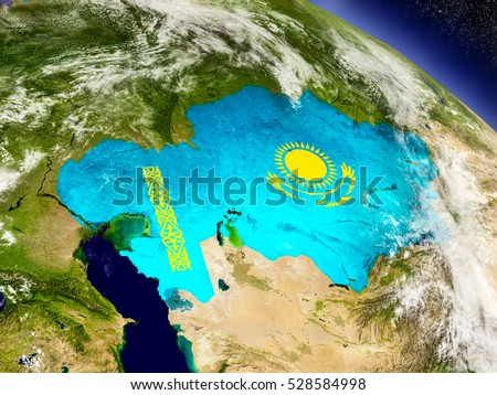 Flag of Kazakhstan on planet surface from space. 3D illustration with highly detailed realistic planet surface and clouds in the atmosphere. Elements of this image furnished by NASA.