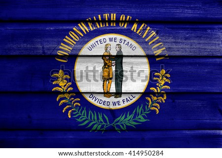 Flag of Kentucky State, painted on old wood plank background - stock photo
