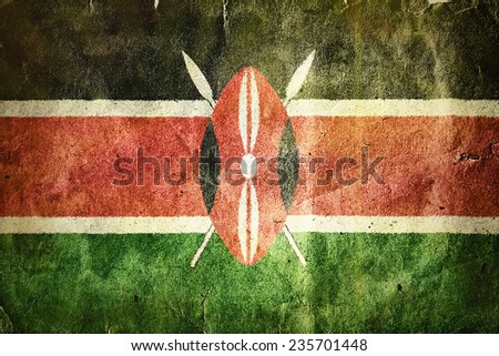flag of Kenya. Old vintage paper texture. - stock photo