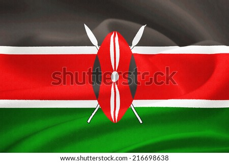 flag of Kenya waving in the wind. Silk texture pattern - stock photo
