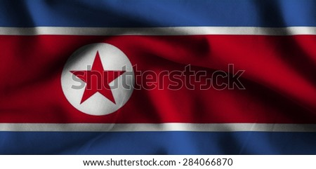 Flag of Korea North. Flag has a detailed realistic fabric texture.