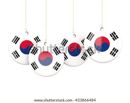 Flag of korea south, round labels on white. 3D illustration - stock photo