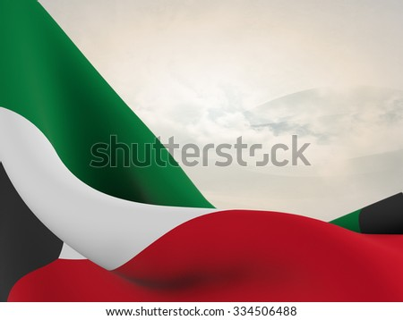 Flag of Kuwait, close up  with  sinuous motion wave on abstract background with waves and clouds - stock photo