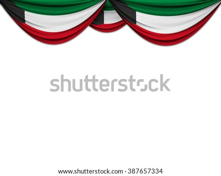 Flag of Kuwait drawn on a theater curtain - stock photo