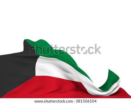 Flag of Kuwait moved by the wind, leaving a  white background - stock photo