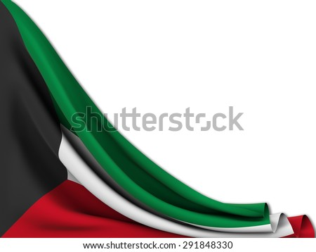 Flag of Kuwait moved to make room on  white background - stock photo