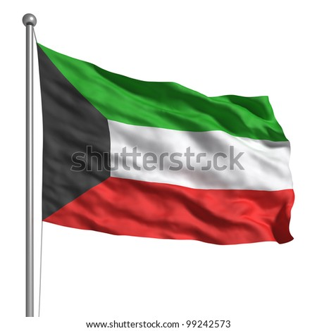 Flag of Kuwait. Rendered with fabric texture (visible at 100%). Clipping path included.
