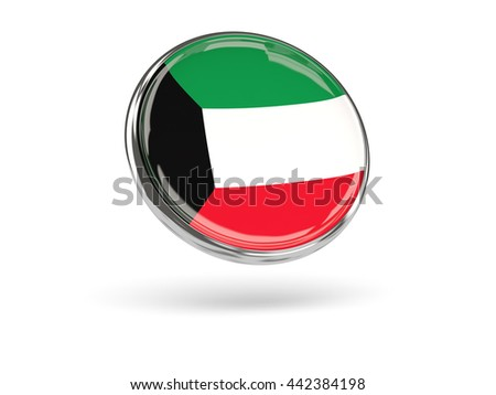 Flag of kuwait. Round icon with metal frame, 3D illustration - stock photo