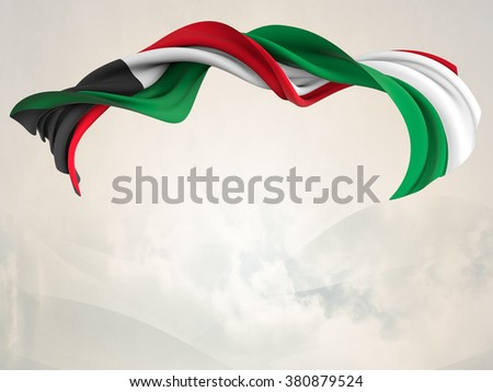 Flag of Kuwait shaped by the wind over an abstract background. isolated - stock photo