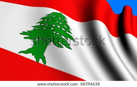 Flag of Lebanon against blue background. Close up. - stock photo