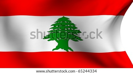Flag of Lebanon against white background. Close up.