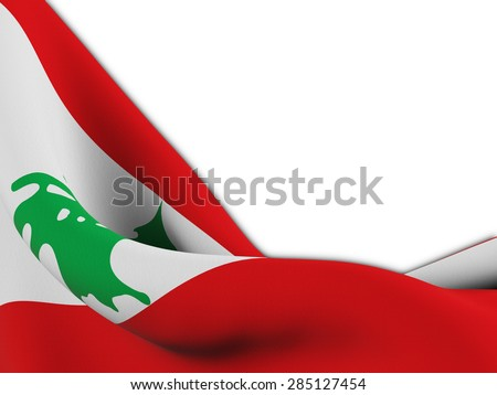 Flag of Lebanon ,close up  with  sinuous motion wave on white background