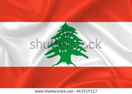 Flag of Lebanon , 3D illustration, waving silk texture